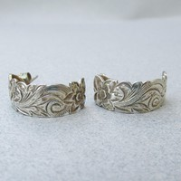 Sterling Silver FLOWER Embossed Demi Hoop Vintage Pierced Earrings