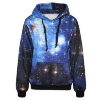 Womens Galaxy Printed Hooded Sweatshirt Hoodies