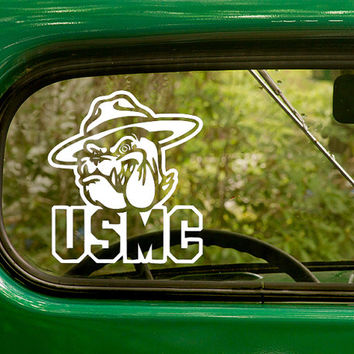 USMC Bulldog Decal, United State Marine Corps, Marine Decal, Military Decal, Marine Sticker, Car Decal, Laptop Sticker, Vinyl, Car Stickers