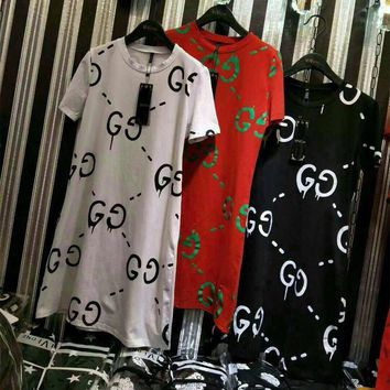 """Gucci"" Women Casual Loose Fashion GG Letter Print Short Sleeve T-shirt Dress"