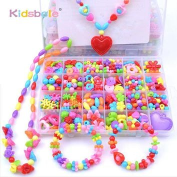 Girl Beads DIY Toys For Children String Beads Make Up Puzzle Toys Jewelry Necklace Bracelet Building Kit Educational Block Toy