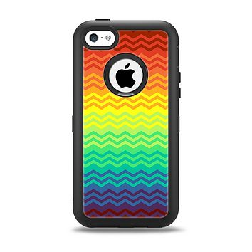 The Rainbow Thin Lined Chevron Pattern Apple iPhone 5c Otterbox Defender Case Skin Set