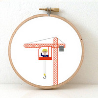 CRANE OPERATOR Cross stitch pattern. Crane embroidery decor. Operator gift. Crane toy illustration. Crane image.