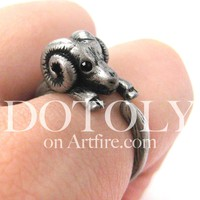 Sheep Ram Animal Wrap Around Ring in Silver - Sizes 4 to 9 Available