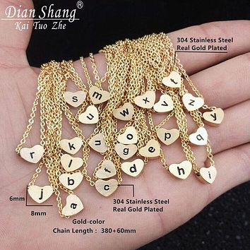 DIANSHANGKAITOOZHE tide brand men and women stainless steel heart letter necklace F
