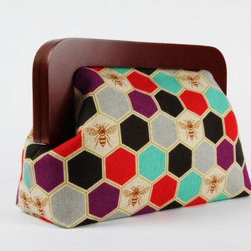 Wooden frame clutch bag - Bees in purple - Trip purse / New Echino / Geometric Hexagons / black red purple mint grey / insect spring