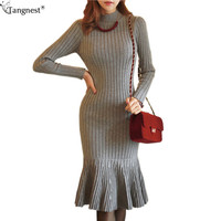 2016 New Spring Winter Elegant Women Dress Black Grey Knitted Turtleneck Mermaid Dresses Sweater Vestido De Festa WQL3580