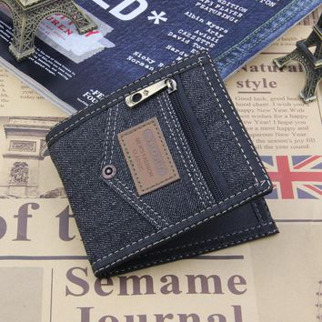 Denim Wallet Blue Black Men Bulls Man Vintage Grazy Horse Cowhide Jean Big Capacity Short Purse Coin Pocket Portefeuille Femme