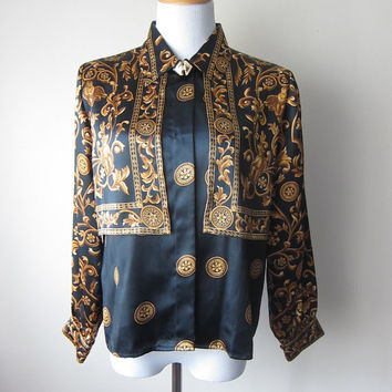 80s/90s Black & Gold Satin Shirt // Versace Inspired Italian Baroque Royalty Print // Chic Trendy High Fashion Designer Style