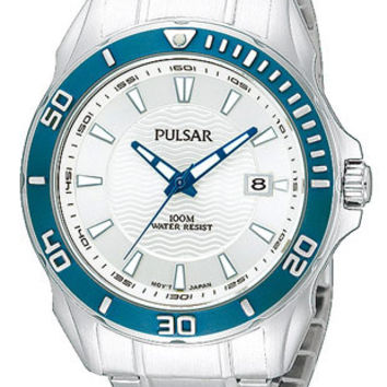 Pulsar Mens Active Sport Watch - Silver/White Dial - Steel Case with Blue Bezel
