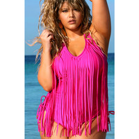 'St. Tropez' Fuchsia Fringe Plus Size Swimsuit by Monif C.
