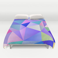 Blue Polygons Duvet Cover by House of Jennifer