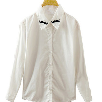 White Moustache Embroidery Collared Sleeve