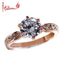 Italina 7.5mm CZ Diamond Jewelry Wedding Rings for women 925 sterling silver Jewelry Engagement ring Crystal
