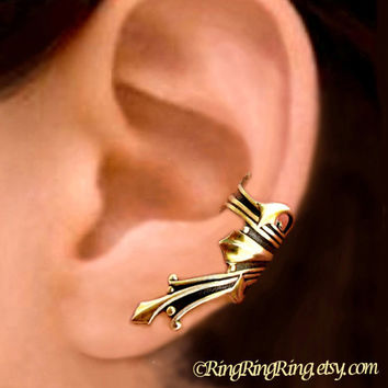 Vestal ear cuff gold brass earring jewelry - Ancient Roman style Left earcuff for men and women 081112