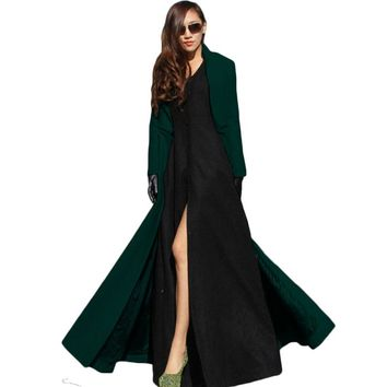 Feminino 2017 European and American Women Autumn Winter Woolen Maxi Long Coat Trench Female Robe Outerwear Manteau Femme XH778