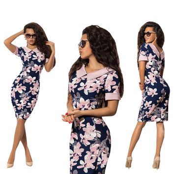 Fashion Summer Woman Dress 2017 Newest Design Sexy Sheath Short Sleeve Print Turn-down Collar Knee-Length Women Dresses Clothing
