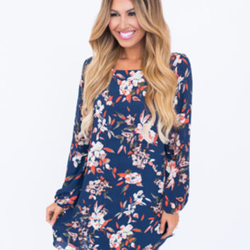Navy Floral Long Sleeve Shift Dress