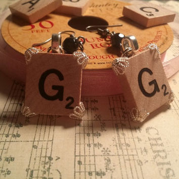 Personalized scrabble earrings scrabble tile dangle earrings scrabble tile dangly earrings name plate earrings letter name earrings