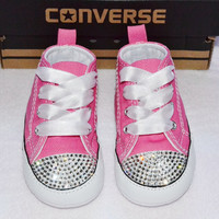 Customised Crystal Pink Low Top All Star Converse Blinged Crystal Toes, Bottoms & Backs, Ribbon Laces Crib Baby SOFT SOLE
