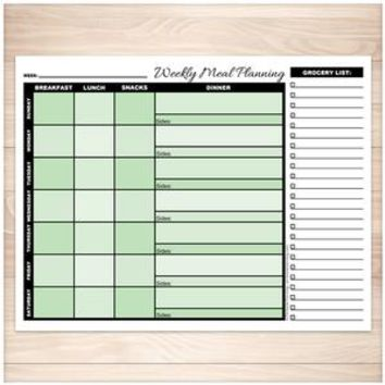 Green Weekly Meal Planning Page with Grocery List - Printable