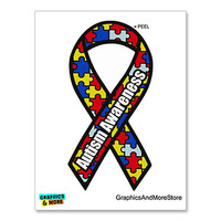 Autism Awareness Puzzle Ribbon Sticker