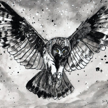 Ink drawing A4 - Owl flying in the storm