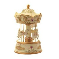 Laxury 4-horses Carousel Music Box in Standard Size Model Mp-926a with Changing LED Light, Play Always with Me From the Spirited Away