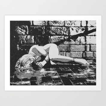 Dark Dungeon, sexy blonde slave girl nude, submissive woman naked in cellar Art Print by Peter Reiss