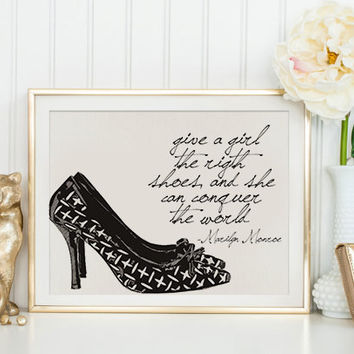 "Marilyn Monroe Poster ""The Right Shoes Conquer The World""  Marilyn Monroe shoe quote shoe print marilyn monroe quote fashion print poster"