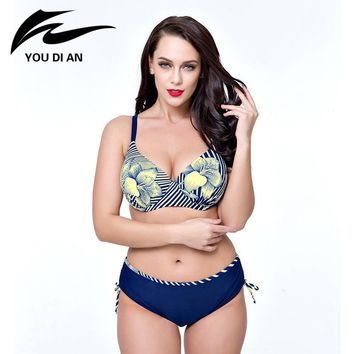 2017 New Arrival Blue Navy Blue Pink Swimsuits Floral Print Plus Size Biquini Sets Big Bust Maillot De Bain For Women