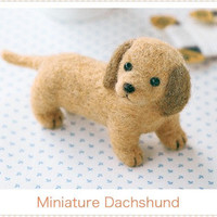 Japanese Wool Needle Felting Craft Kit - Miniature Dachshund