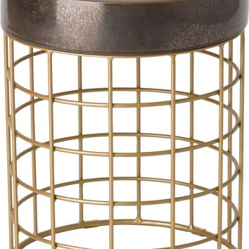 Cooper Metal Stool/Table Powdercoated Gold With A Gunmetal Ceramic Top