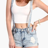 Convertible Denim Overall Shorts - Distressed Cutoff Shorts