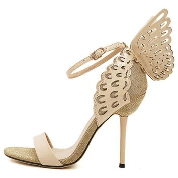 Butterfly Wings Ankle Strap High Heel shoes