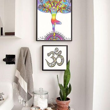 Yoga Poster, Rainbow Colors, Spiritual Energy Art, Om Symbol, Yoga Silhouette Wall Decor Drawing, Yoga Asana Drawing Decor Om Sign Drawing