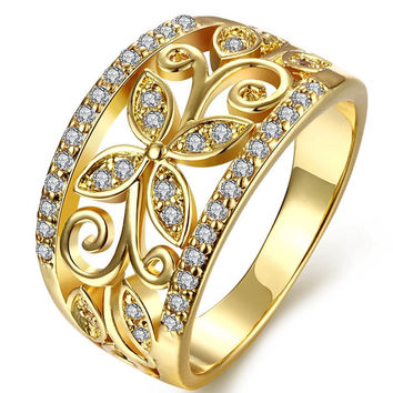 old Filled Wedding Rings for women's Class Crystal Butterfly Ring Made with enuine Austrian Crystals