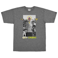 Crooks & Castle City Of Crooks T-Shirt In Heather Charcoal