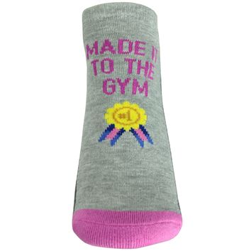 Made It To The Gym Footie Socks in Sweatshirt Gray