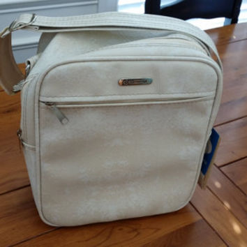 Vintage White Leather Samsonite Carry On Overnight Bag Luggage Travel Accessory