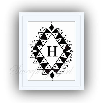Printable monogram letter, H, BOHEMIAN wall art, baby boy girl Name initial, print custom, personal letters, Nursery decor, digital BLACK