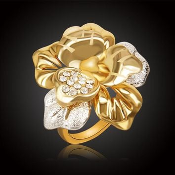 Fashion Beautiful Big Flower Austria Crystal Gold/Silver Plated Rings For Women Wedding Jewelry Bague Femme Lady Bijoux Rings