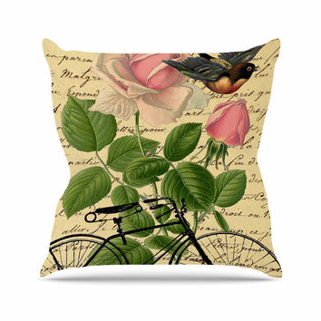 "Suzanne Carter ""Vintage Cycle"" Floral Outdoor Throw Pillow"