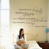 """Marilyn Monroe Quote Decor ~ Imperfection is beauty ~ Vinyl Lettering Wall Decal Sticker Girls Dorm Bedroom Art Wall Tatoo Decor Girl's Birthday Gift Hotel mural - 31"""" Black"""