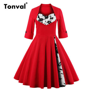Tonval S - 5XL Elegant Dots Vintage Red Dress Women Bow Rockabilly 50s Dress 2017 Autumn Plus Size Floral Retro Party Dresses