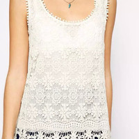White Lace Floral Cutout Sleeveless Blouse