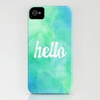"""Hello"" Blue/Green Watercolor iPhone Case by StaciaE 