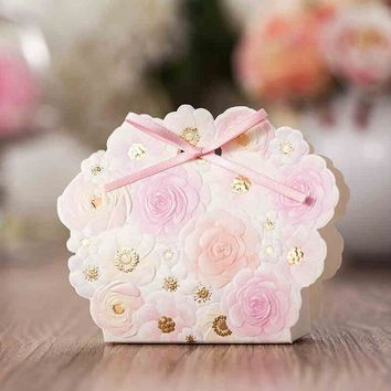 50Pcs/lot Pink flower wedding gift candy box, baby shower gift bag