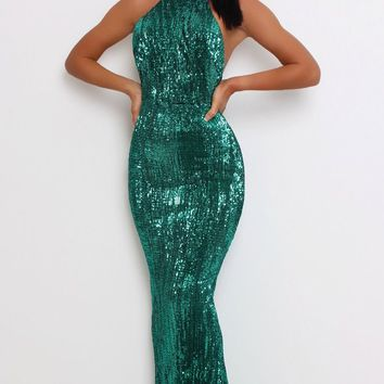 Emerald Isle Green Sequin Sleeveless Mock Neck Backless Halter Fish Tail Mermaid Maxi Dress