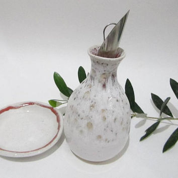 Olive Oil Bottle with Dish, Oil Dispenser, Salad Dressing Jar, Soy Dispenser - Handmade Kitchen Pottery in White and Red